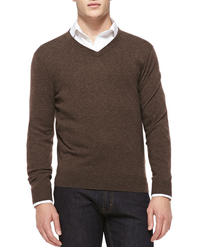 Cashmere V-Neck Sweater, Brown