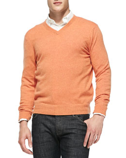 Neiman Marcus Cashmere V-Neck Sweater, Orange