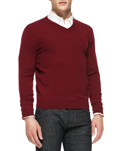 Neiman Marcus Cashmere V-Neck Sweater, Burgundy