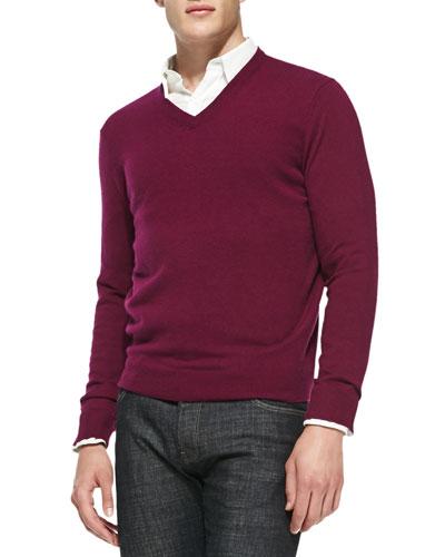 Neiman Marcus Cashmere V-Neck Sweater, Magenta