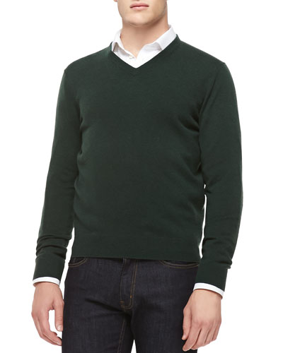Neiman Marcus Cashmere V-Neck Sweater, Green