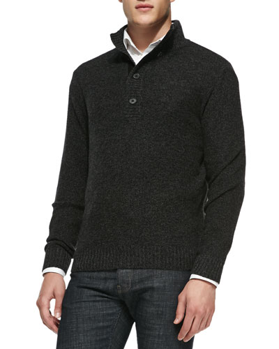 Neiman Marcus Pineapple-Knit Pullover Sweater, Black/Gray