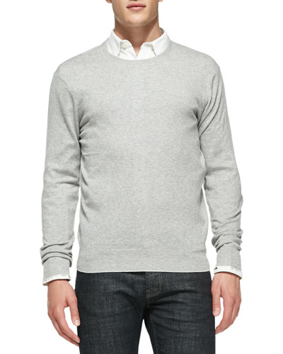 Neiman Marcus Feeder-Stripe Crewneck Sweater, White