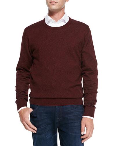 Neiman Marcus Feeder-Stripe Crewneck Sweater, Ruby Red