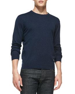 Neiman Marcus Feeder-Stripe Crewneck Sweater, Navy