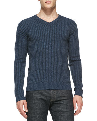 Neiman Marcus Ribbed V-Neck Cashmere Sweater, Blue
