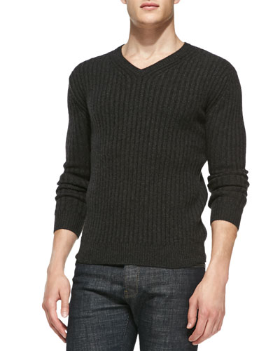 Neiman Marcus Ribbed V-Neck Cashmere Sweater, Charcoal