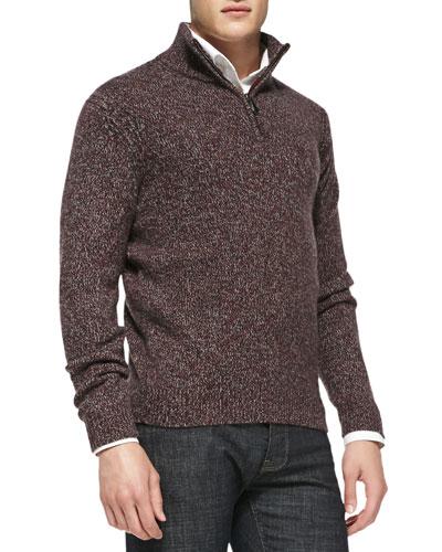 Neiman Marcus Marled Half-Zip Pullover Sweater, Burgundy