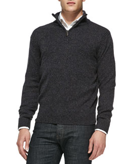 Private Label Marled Half-Zip Pullover Sweater, Black/Navy