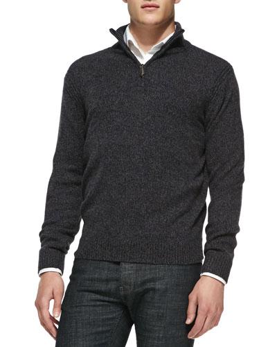 Neiman Marcus Marled Half-Zip Pullover Sweater, Black/Navy