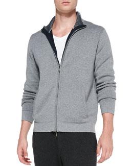 Neiman Marcus Full-Zip Cotton-Cashmere Blend Cardigan, Gray/Navy