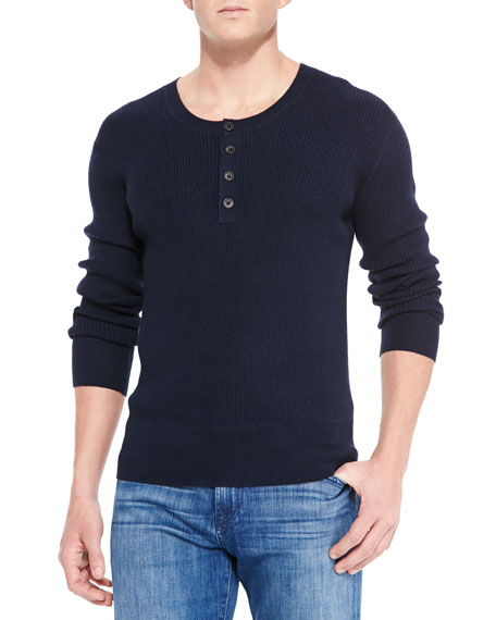 Neiman Marcus Ribbed Long-Sleeve Henley, Navy
