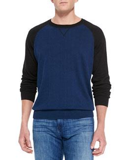 Neiman Marcus Raglan Crewneck Sweater, Blue/Charcoal