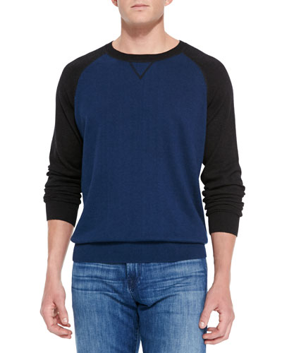 Raglan Crewneck Sweater, Blue/Charcoal