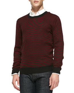 Neiman Marcus Striped Crewneck Sweater, Ruby
