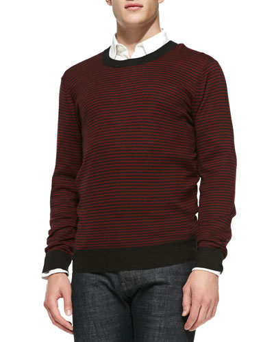 Neiman Marcus Striped Crewneck Sweater, Ruby