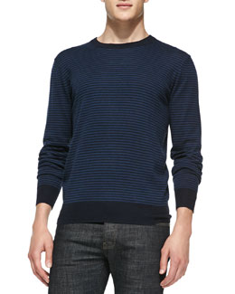 Neiman Marcus Striped Crewneck Sweater, Blue/Navy