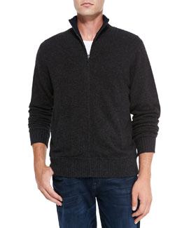 Neiman Marcus Reversible Zip Cardigan, Charcoal/Navy