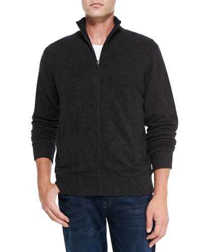 Neiman Marcus Reversible Zip Cardigan, Charcoal/Navy