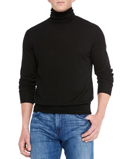 Neiman Marcus Cashmere/Silk Turtleneck Sweater, Black/Navy