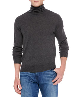 Neiman Marcus Cashmere/Silk Turtleneck Sweater, Gray