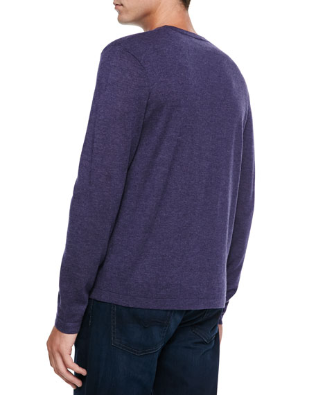 Superfine Cashmere Crewneck Sweater, Violet