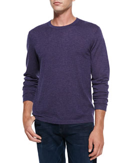 Neiman Marcus Superfine Cashmere Crewneck Sweater, Violet