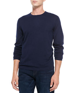 Neiman Marcus Superfine Cashmere Crewneck Sweater, Navy