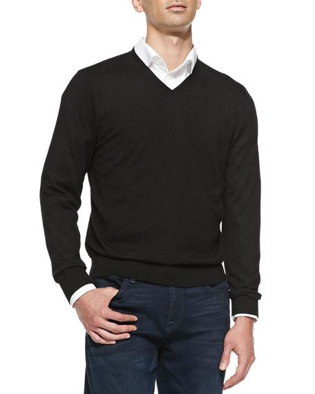 Superfine Cashmere V-Neck Sweater, Black