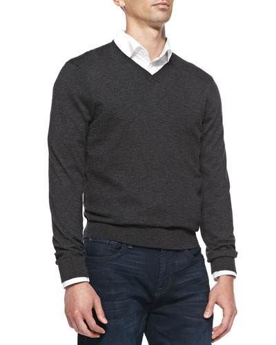 Neiman Marcus Superfine Cashmere V-Neck Sweater, Charcoal