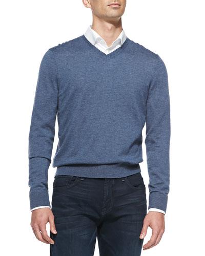 Neiman Marcus Superfine Cashmere V-Neck Sweater, Denim