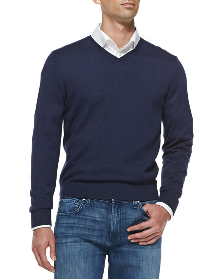 Superfine Cashmere V-Neck Sweater, Marine Blue
