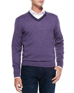 Neiman Marcus V-Neck Pullover Cashmere Sweater, Lavender/Navy Stripe