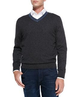 Neiman Marcus V-Neck Pullover Cashmere Sweater, Charcoal/Denim Stripe