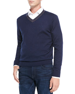 Neiman Marcus V-Neck Pullover Cashmere Sweater, Navy/Brown Stripe