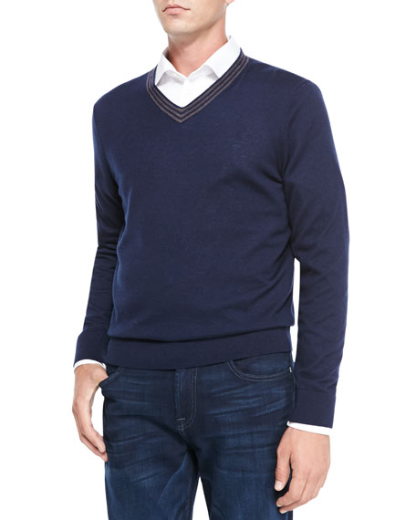 V-Neck Pullover Cashmere Sweater, Navy/Brown Stripe