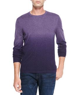Neiman Marcus Superfine Dip-Dye Cashmere Crewneck Sweater, Lavender/Violet/Dark Violet