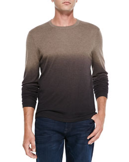 Neiman Marcus Superfine Dip-Dye Crewneck Sweater, Taupe/Brown/Dark Brown