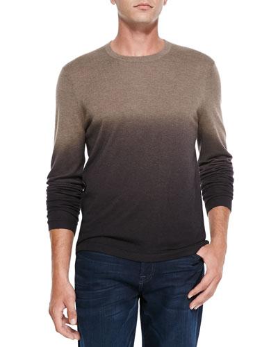 Neiman Marcus Superfine Dip-Dye Crewneck Sweater, Taupe/Brown/Dark Brown