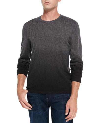 Neiman Marcus Superfine Dip-Dye Cashmere Crewneck Sweater, Gray/Black