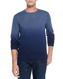 Neiman Marcus Superfine Dip-Dye Cashmere Crewneck Sweater, Denim/Marine