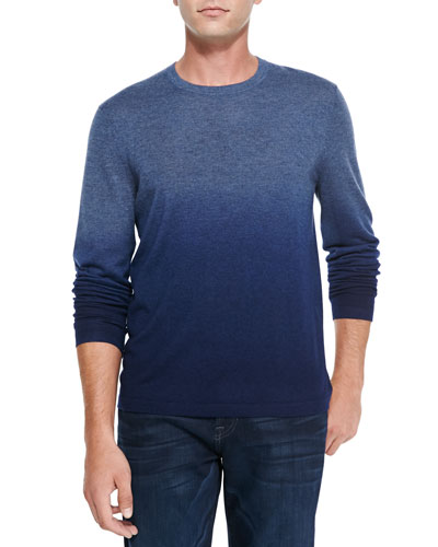 Superfine Dip-Dye Cashmere Crewneck Sweater, Denim/Marine