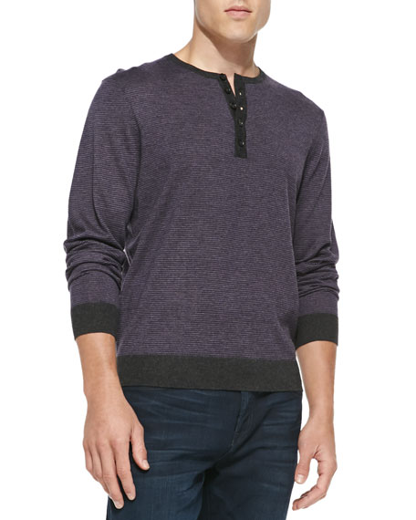 Fine-Stripe Cashmere Henley Sweater, Charcoal/Lavender