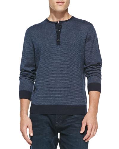 Fine-Stripe Cashmere Henley Sweater, Navy/Denim
