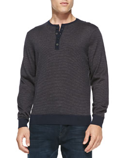 Neiman Marcus Fine-Stripe Cashmere Henley Sweater, Navy/Med Brown