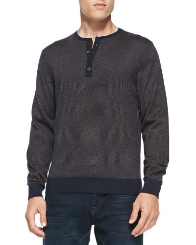 Fine-Stripe Cashmere Henley Sweater, Navy/Med Brown