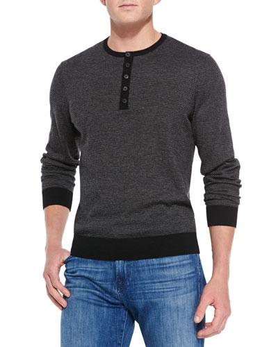Cashmere Fine-Stripe Henley Sweater, Black/Gray