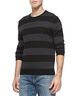 Neiman Marcus Rugby-Stripe Cashmere Sweater, Black/Charcoal