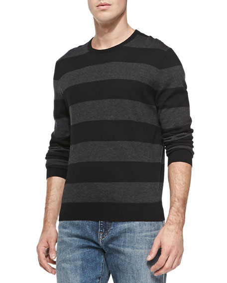 Rugby-Stripe Cashmere Sweater, Black/Charcoal