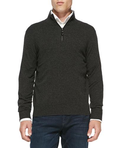 Neiman Marcus Nano-Cashmere 1/4-Zip Pullover, Charcoal
